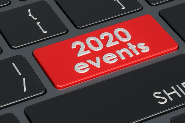 2020 events button on keyboard, 3D rendering